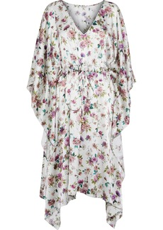 Dolce & Gabbana Woman Draped Floral-print Silk-satin Dress Ivory