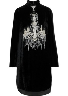 Dolce & Gabbana Woman Embellished Chiffon-trimmed Velvet Mini Dress Black