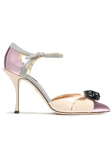 Dolce & Gabbana Woman Embellished Color-block Patent And Mirrored-leather Pumps Baby Pink