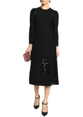 Dolce & Gabbana Woman Embellished Crepe And Corded Lace Midi Dress Black