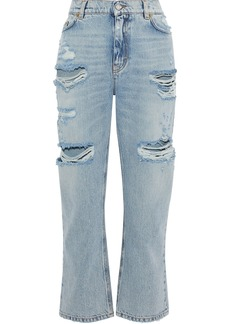 Dolce & Gabbana Woman Embellished Distressed Mid-rise Straight-leg Jeans Blue