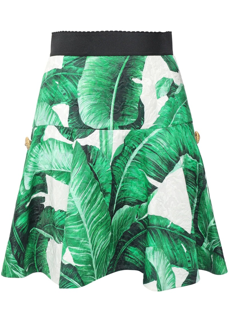 Dolce & Gabbana Woman Embellished Floral-print Cotton And Silk-blend Matelassé Mini Skirt Green
