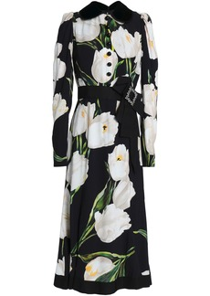 Dolce & Gabbana Woman Embellished Floral-print Crepe Midi Dress Black