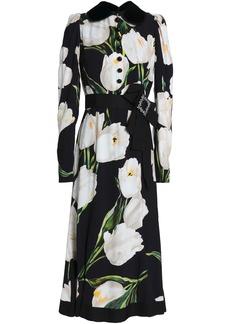 Dolce & Gabbana Woman Embellished Floral-print Crepe Midi Dress Black