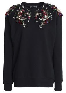 Dolce & Gabbana Woman Embellished French Cotton-terry Sweatshirt Black