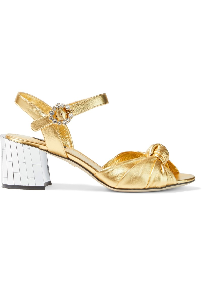 Dolce & Gabbana Woman Embellished Knotted Metallic Leather Sandals Gold
