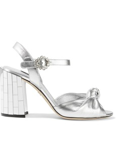 Dolce & Gabbana Woman Embellished Knotted Metallic Leather Sandals Silver