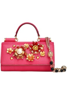 Dolce & Gabbana Woman Embellished Lizard-effect Leather Iphone Case Bright Pink
