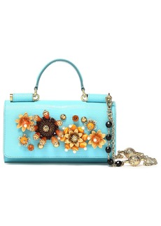 Dolce & Gabbana Woman Embellished Lizard-effect Leather Iphone Case Turquoise