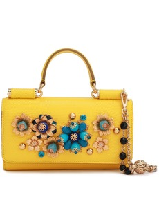Dolce & Gabbana Woman Embellished Lizard-effect Leather Iphone Case Yellow