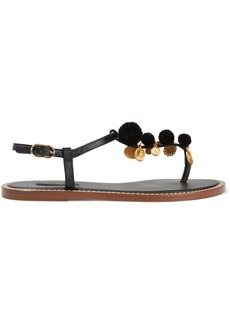 Dolce & Gabbana Woman Embellished Lizard-effect Leather Sandals Black