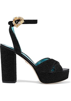 Dolce & Gabbana Woman Embellished Lurex Platform Sandals Black