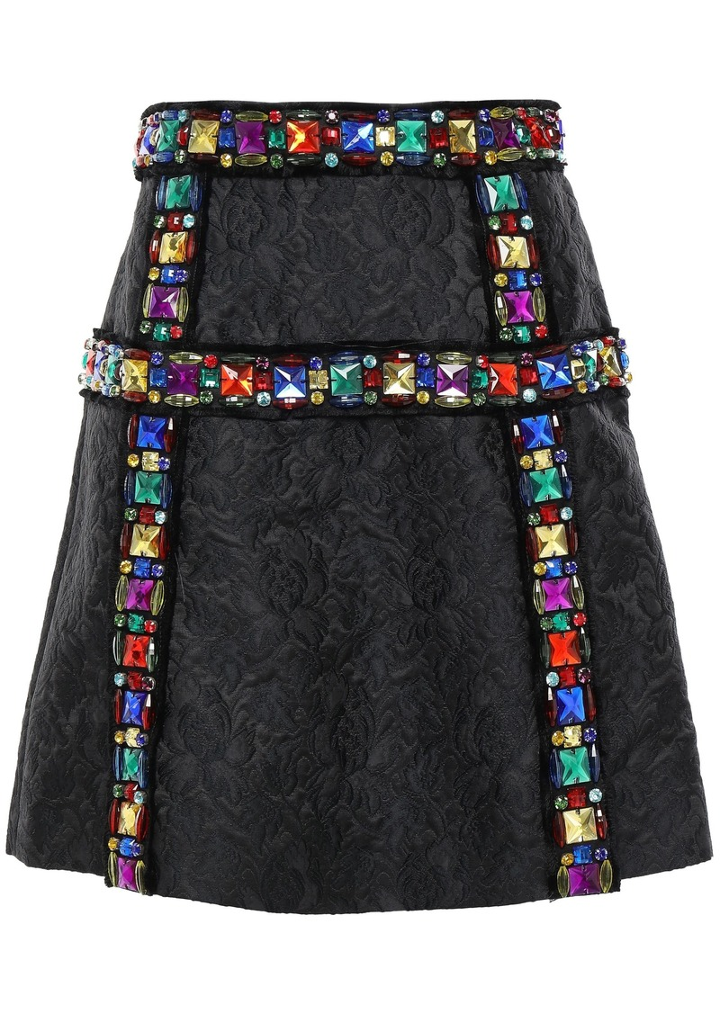 Dolce & Gabbana Woman Embellished Matelassé Mini Skirt Black
