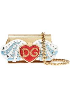 Dolce & Gabbana Woman Embellished Metallic Textured-leather Shoulder Bag Gold