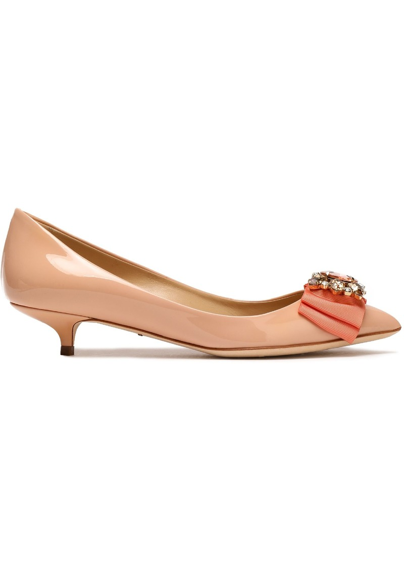 Dolce & Gabbana Woman Embellished Patent-leather Pumps Pastel Pink