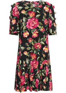 Dolce & Gabbana Woman Embellished Pleated Floral-print Crepe Dress Black