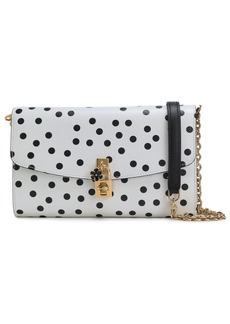 Dolce & Gabbana Woman Embellished Polka-dot Textured-leather Shoulder Bag White