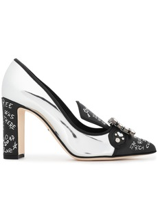 Dolce & Gabbana Woman Embellished Printed And Mirrored-leather Pumps Silver