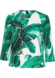 Dolce & Gabbana Woman Embellished Printed Cotton And Silk-blend Jacquard Jacket Jade