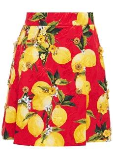 Dolce & Gabbana Woman Embellished Printed Cotton-blend Jacquard Mini Skirt Red