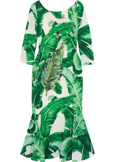 Dolce & Gabbana Woman Embellished Printed Crepe Midi Dress Green