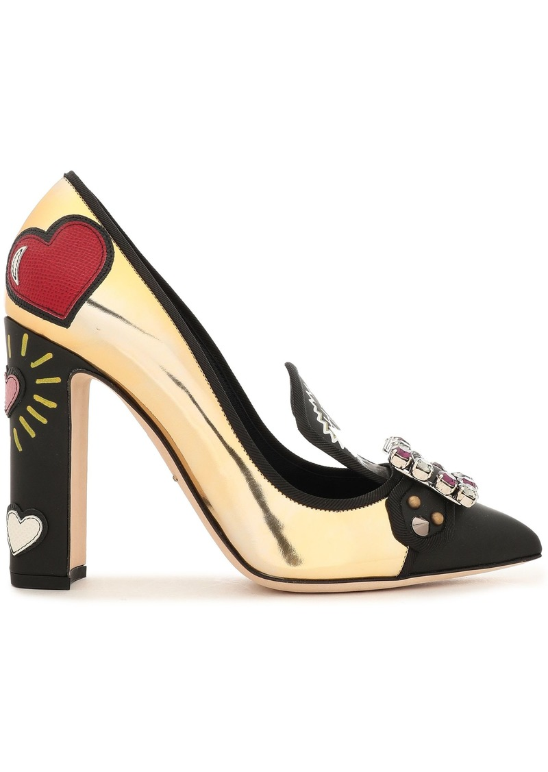 Dolce & Gabbana Woman Embellished Printed Mirrored And Smooth Leather Pumps Gold
