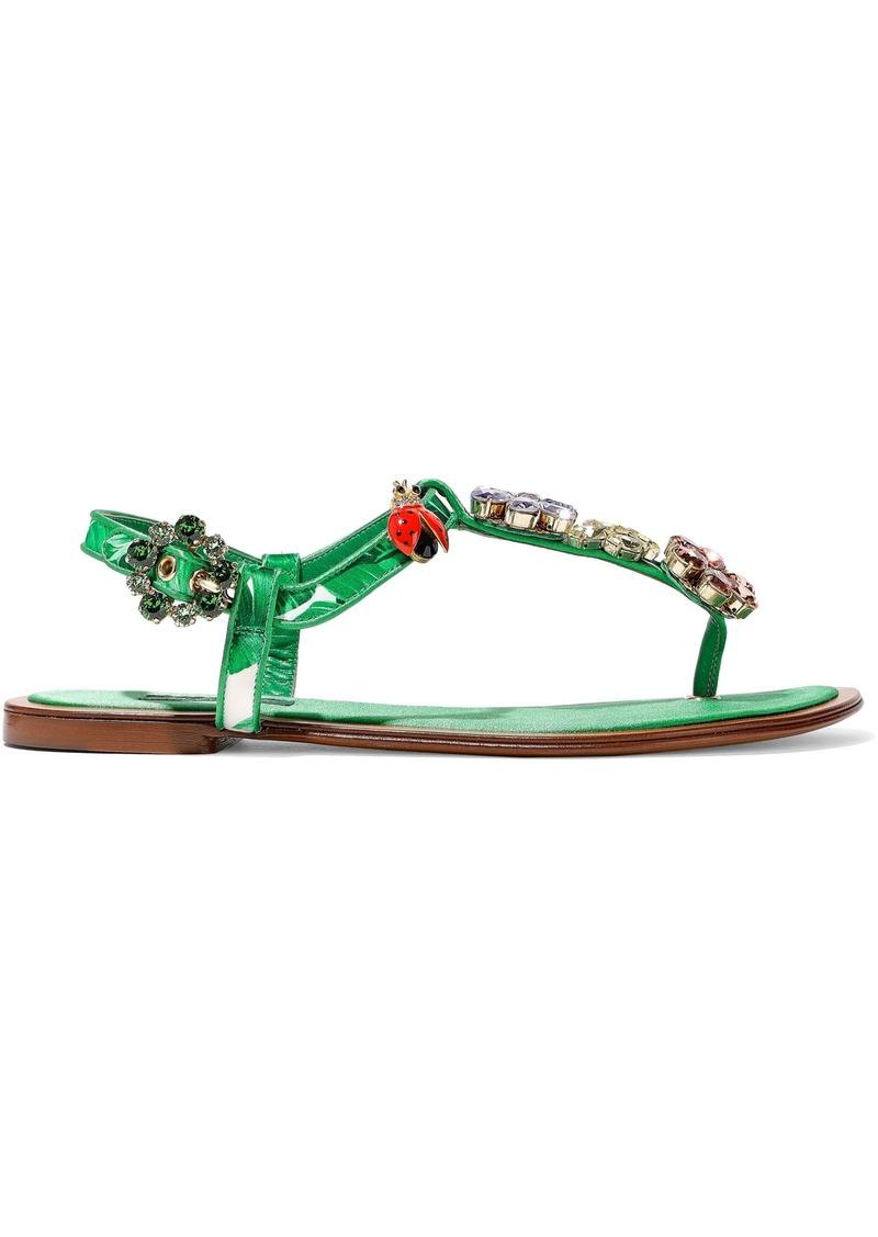 Dolce & Gabbana Woman Embellished Printed Satin Sandals Green