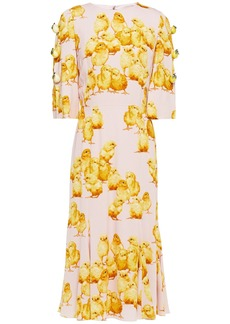 Dolce & Gabbana Woman Embellished Printed Stretch-crepe Midi Dress Pastel Pink