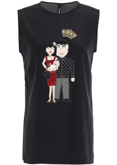 Dolce & Gabbana Woman Embellished Silk-blend Crepe De Chine Top Black