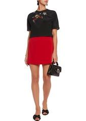 Dolce & Gabbana Woman Embellished Slik-blend Crepe De Chine Top Black