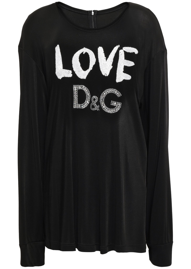 Dolce & Gabbana Woman Embellished Stretch-jersey Top Black
