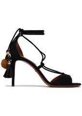 Dolce & Gabbana Woman Embellished Suede Sandals Black