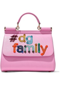 Dolce & Gabbana Woman Embellished Textured-leather Shoulder Bag Bubblegum