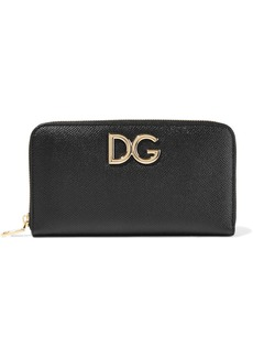 Dolce & Gabbana Woman Textured-leather Continental Wallet Black