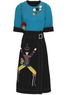 Dolce & Gabbana Woman Embellished Two-tone Stretch-wool Crepe Midi Dress Teal