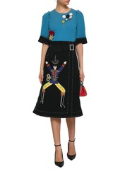Dolce & Gabbana Woman Embellished Two-tone Stretch-wool Crepe Midi Dress Teal