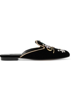 Dolce & Gabbana Woman Embellished Velvet Slippers Black