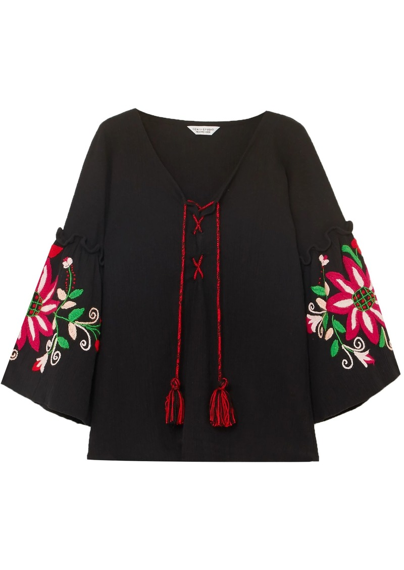 Dolce & Gabbana Woman Embroidered Crinkled-cotton Blouse Black