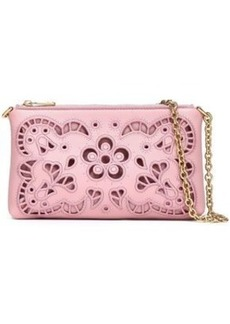 Dolce & Gabbana Woman Embroidered Laser-cut Leather Clutch Bubblegum