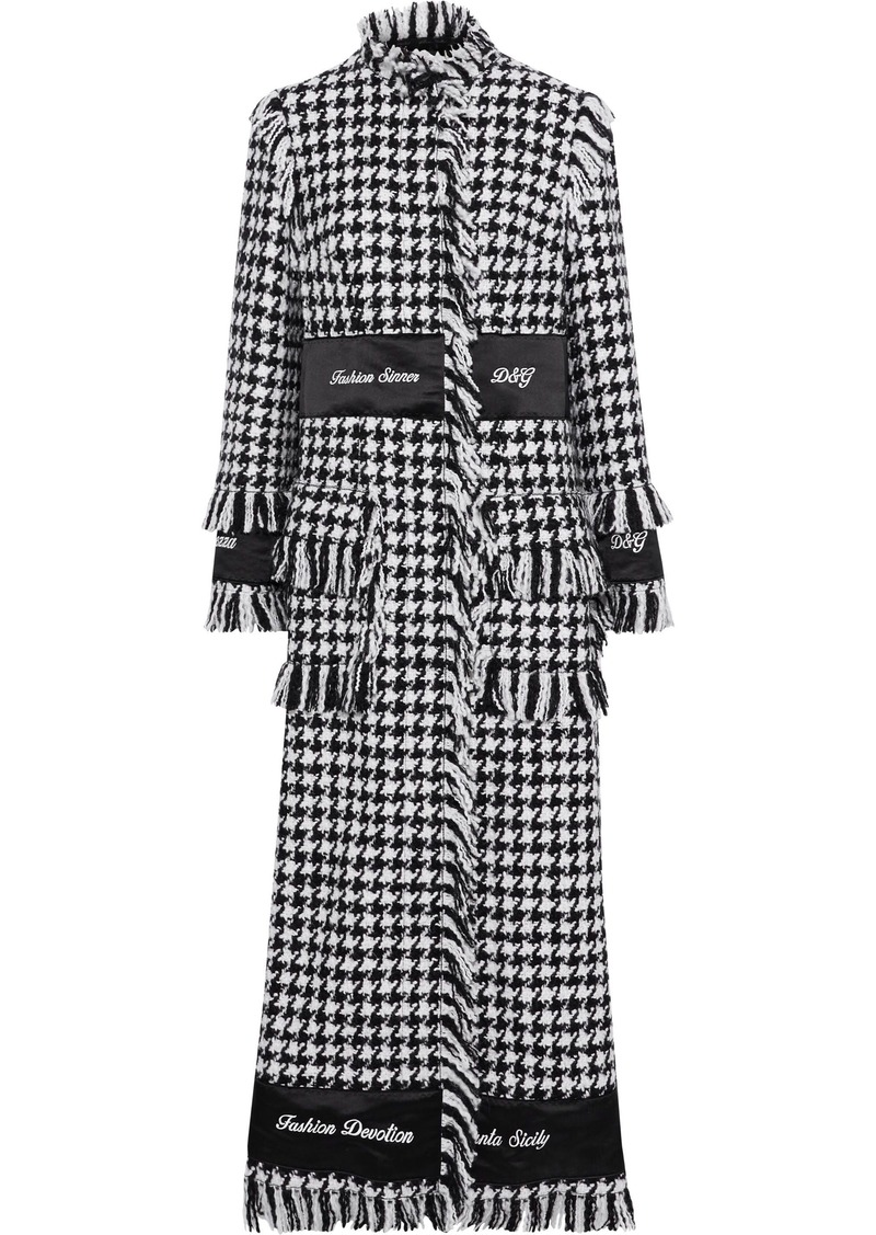 Dolce & Gabbana Woman Embroidered Satin-trimmed Houndstooth Wool-blend Bouclé-tweed Coat Black