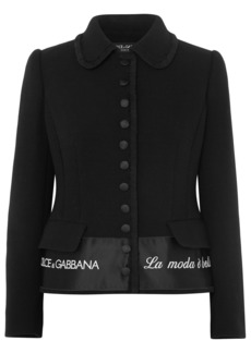 Dolce & Gabbana Woman Embroidered Satin-trimmed Wool-blend Crepe Jacket Black