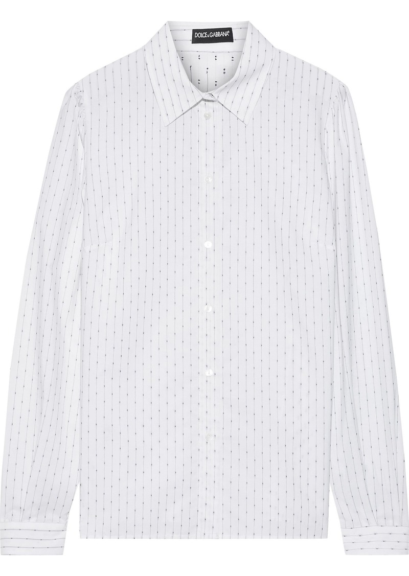 Dolce & Gabbana Woman Fil Coupé Cotton Shirt White