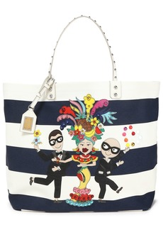 Dolce & Gabbana Woman Flamenco Leather-trimmed Appliquéd Striped Canvas Tote Navy