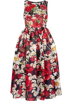 Dolce & Gabbana Woman Flared Appliquéd Floral-print Silk Dress Black