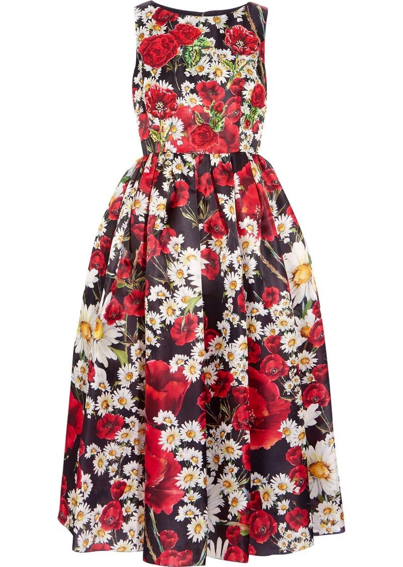 Dolce & Gabbana Woman Flared Appliquéd Floral-print Silk Dress Black