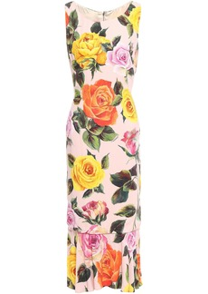Dolce & Gabbana Woman Flared Floral-print Crepe Midi Dress Pastel Pink