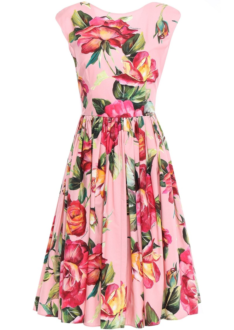 Dolce & Gabbana Woman Flared Gathered Floral-print Cotton-poplin Dress Baby Pink