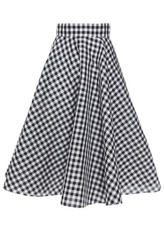 Dolce & Gabbana Woman Flared Gingham Silk Midi Skirt Black