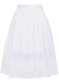 Dolce & Gabbana Woman Flared Guipure Lace-paneled Cotton-blend Skirt White