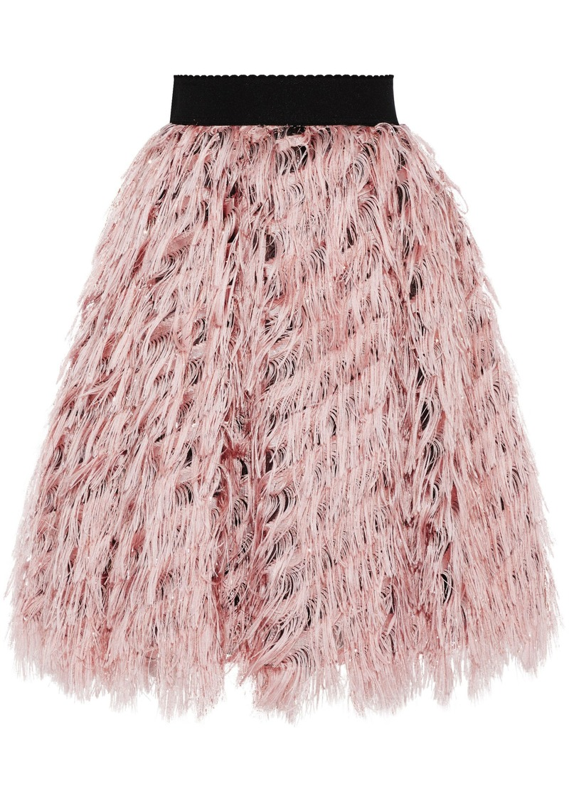 Dolce & Gabbana Woman Flared Metallic Fringed Organza Skirt Baby Pink